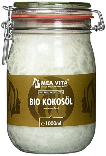 MeaVita Bio Kokosöl, nativ, (1000 ml) im Bügelglas